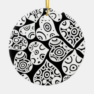 Cute black white hearts love pattern round ceramic ornament