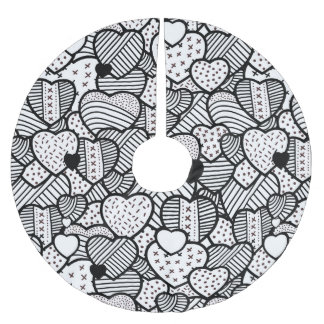 Cute black white hearts patterns brushed polyester tree skirt