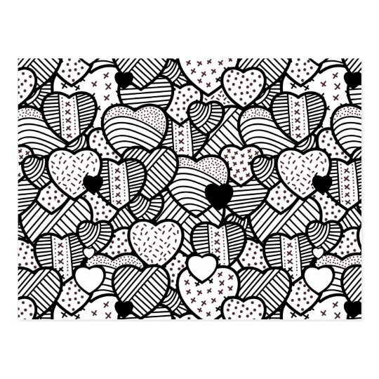 Cute black white hearts patterns postcard