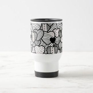 Cute black white hearts patterns travel mug