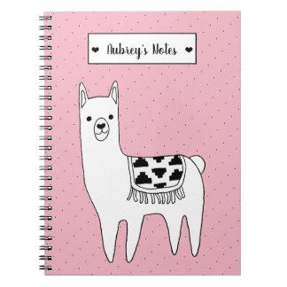 Cute Black & White Llama Sketch & Dots Notebook