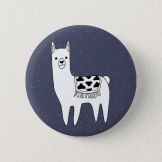 Cute Black & White Llama & White Dots 2 Inch Round Button