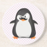 Cute Black  White Penguin And  Funny Moustache Beverage Coaster