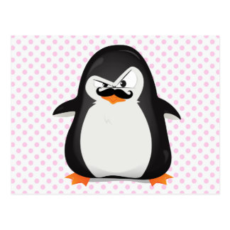 Cute Black  White Penguin And  Funny Mustache Postcard