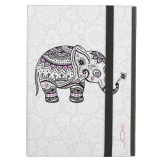 Cute Black White & Pink Floral Elephant iPad Air Cases
