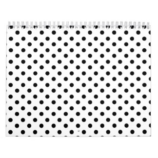 Cute Black White Polka Dots Pattern Wall Calendar