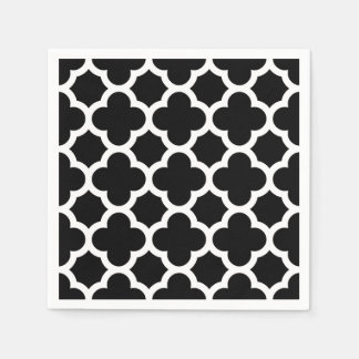 Cute Black White Retro Chic Trellis Pattern Paper Napkin