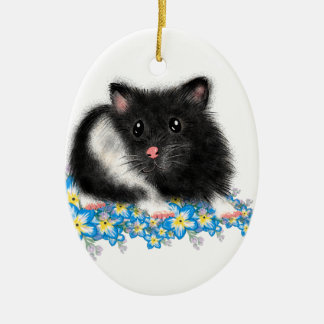 Cute Black white Syrian Hamster gifts Ceramic Oval Ornament