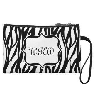 Cute Black/White Zebra Monogram Wristlet