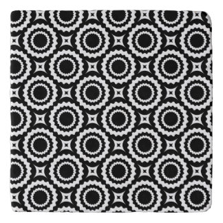 Cute black white zigzag circles design trivet