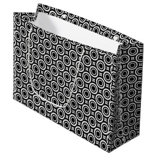 Cute black white zigzag circles pattern large gift bag