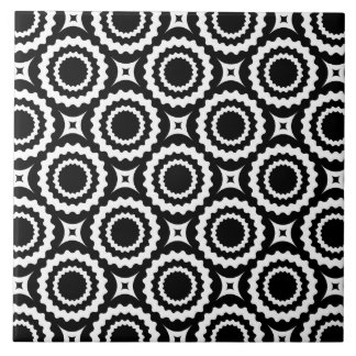 Cute black white zigzag circles pattern tile