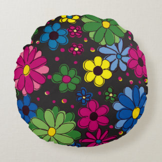 Cute Black with Brightly Colored Hand-Drawn Flower Round Pillow