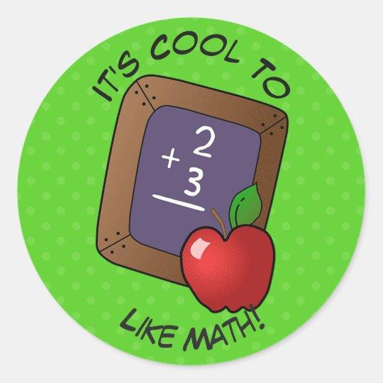 Cute Blackboard And Apple Math School Classic Round Sticker