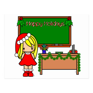 Cute Blond Christmas teacher Post Card