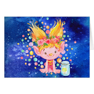 Cute Blond Point Eared Troll and Firefies Card