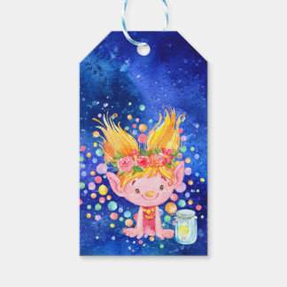 Cute Blond Point Eared Troll and Firefies Gift Tags
