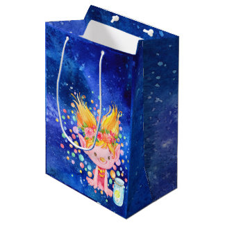 Cute Blond Point Eared Troll and Firefies Medium Gift Bag