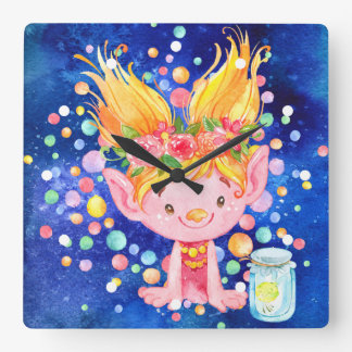 Cute Blond Point Eared Troll and Firefies Square Wall Clock