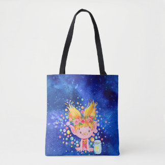 Cute Blond Point Eared Troll and Firefies Tote Bag