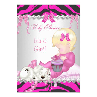 "Cute Blonde Baby Shower Girl Pink Zebra Cupcake 5"" X 7"" Invitation Card"