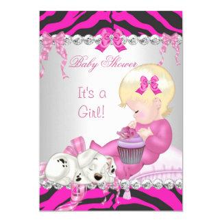 "Cute Blonde Baby Shower Girl Pink Zebra Cupcake 5"" X 7"" Invitation Card"