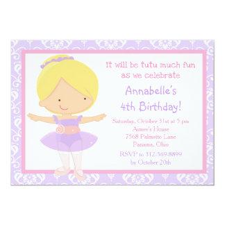 Cute Blonde Ballerina and Purple Damask Card