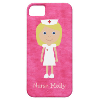Cute Blonde Cartoon Nurse Personalized Pink Case For The iPhone 5