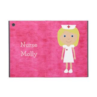 Cute Blonde Cartoon Nurse Personalized Pink Cases For iPad Mini