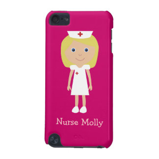 Cute Blonde Cartoon Nurse Personalized Pink iPod Touch 5G Case