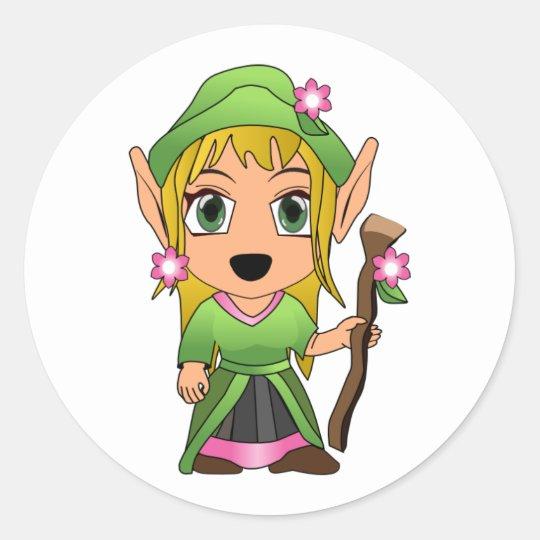 Cute Blonde Elf Girl in Green Classic Round Sticker