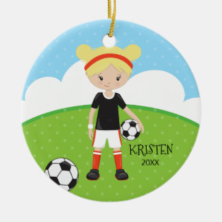 Cute Blonde Girl Soccer Personalized Christmas Round Ceramic Ornament