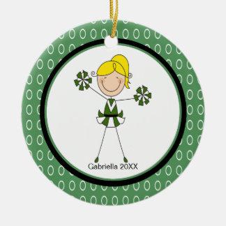 Cute Blonde Haired Cheerleader Christmas Ornament