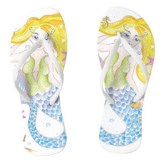 Cute Blonde Mermaid Flip Flops
