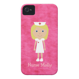 Cute Blonde Nurse Personalized Pink iPhone 4 Cases