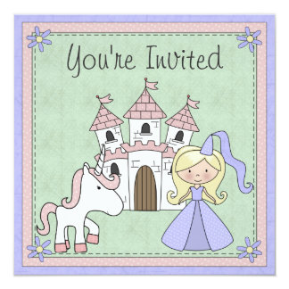 Cute Blonde Princess and Unicorn Birthday Invite