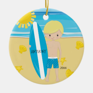 Cute Blonde Surfer Boy Personalized Christmas Ceramic Ornament