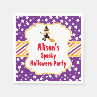 Cute Blonde Witch Halloween Party Disposable Napkin