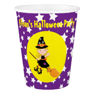Cute Blonde Witch Halloween Party Paper Cup