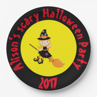 Cute Blonde Witch Halloween Party Paper Plate