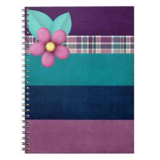Cute blossom on multicolored stripes notebook