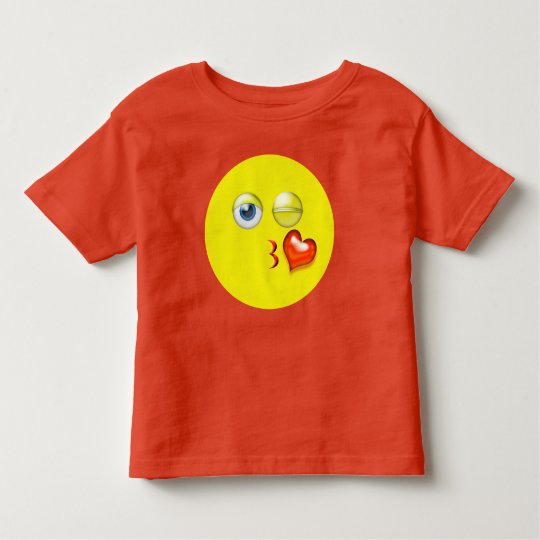 Cute Blow A Kiss Red Yellow Emoji Toddler T-shirt