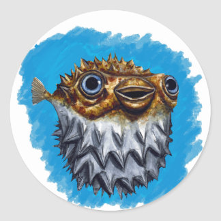 Cute Blowfish Classic Round Sticker