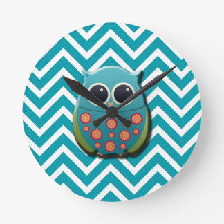 Cute Blue and Green Owl on Blue and White Chevron Round Clock