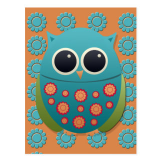 Cute Blue and Green Owl on Orange and Blue Flowers Postcard