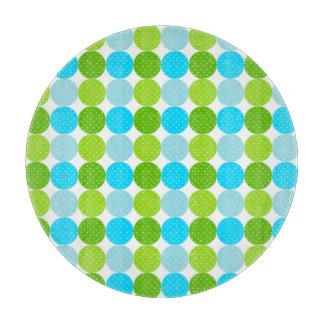 Cute Blue and Green Polka Dot Pattern Cutting Board