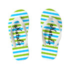 Cute Blue and Green Stripe Personalized Kid's Flip Flops