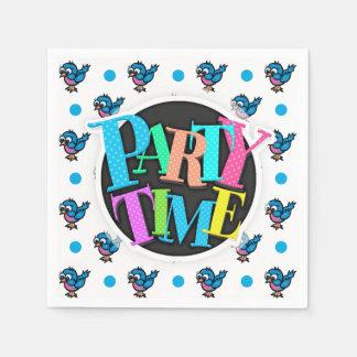 Cute Blue and Pink Cartoon Bird; Polka Dots Paper Napkin