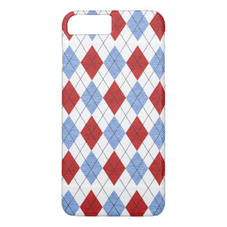 Cute Blue and Red Argyle Fabric Pattern iPhone 7 Plus Case