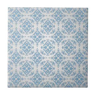 Cute Blue and Silver Damask Pattern Tile